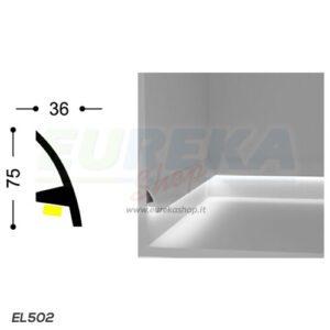EL502 - Veletta a L curvo da appoggio - barra da 2mt