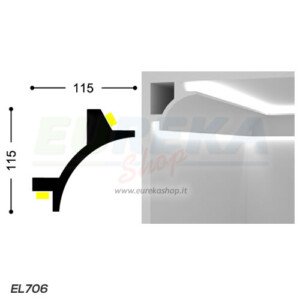 EL706 - Veletta angolare da appoggio - barra da 2mt