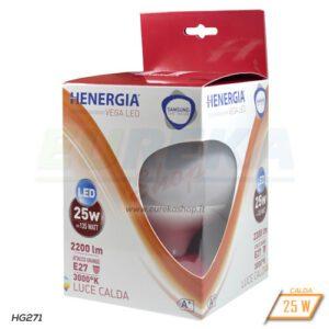 Lampadina LED 25W E27 G125 - Calda 3000K - CHIP SAMSUNG