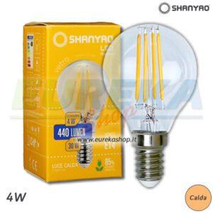 SH - Lampadina a led 4w E14 P45 filamento 3000k