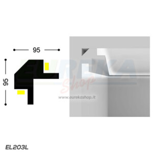 EL203L - Profilo angolo squadrato a 2 lati per cartongesso o appoggio - barra da