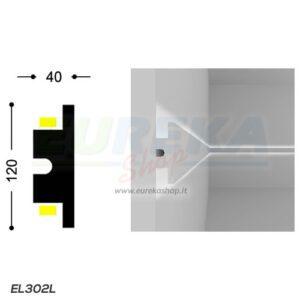 EL302L - Profilo a T doppia luce da cartongesso o appoggio - barra da 1.15 mt