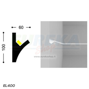 EL400 - Profilo a V da cartongesso o da appoggio - barra da 1,15 mt