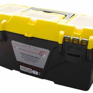 Cassetta portautensili in plastica nera e gialla, struttura resistente, vaschet